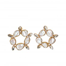 Gold Plated Flower Earrings - White And Gold
