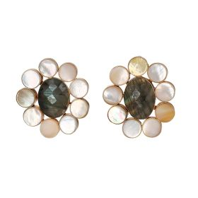 Gold Plated Flowers Earrings - Grey And White