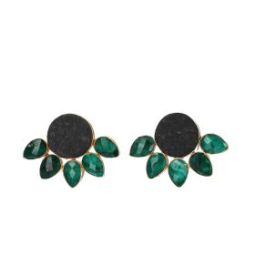 Gold Plated Half Flower Earrings - Black And Green