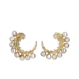 Gold Plated Wheel Earrings - White And Gold
