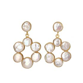 Gold Plated Classic Earrings - White And Gold