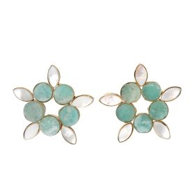 Gold Plated Earrings - Green And White