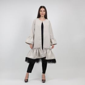 Cotton Jacket With Feathers - Grey