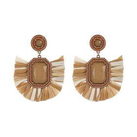 Raffia Earings - White & Tan