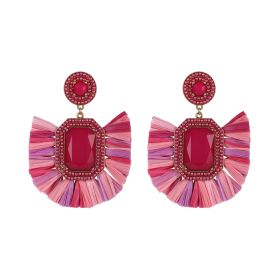 Raffia Earings - Pink & Red