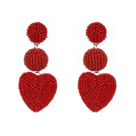Heart Seed Beaded Earings - Red