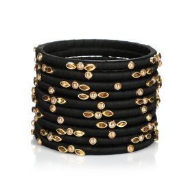 Decorated Bangles - Black