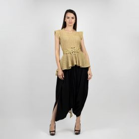 Set Of Two With Ruffled Top - Gold & Black
