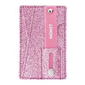 Mobile Grip with a Wallet & a Kickstand - Pink Glitter