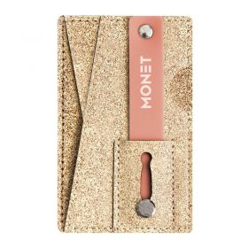 Mobile Grip with a Wallet & a Kickstand - Rose Gold Glitter