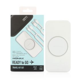 Ready To Go Wireless Charging Travel Kit - White - 4 Pcs