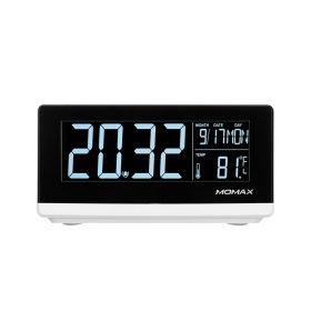 Q.Clock Digital Clock With Wireless Charger - White