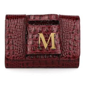 Sac Studio - Haidi Casual Burgundy Leather Clutch Bag with a Gold Plated Letter M