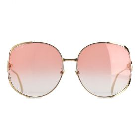 Gucci - Round Orange Gradient & Gold Sunglasses