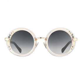 Jimmy Choo - Gem Round Dark Grey Gradient & Crystal Rose Gold Sunglasses