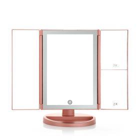 Tri Fold Led Makeup 3 Level Zoom Mirror - Rose Gold
