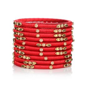 Decorated Bangles - Red