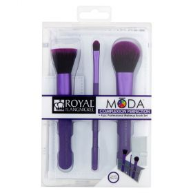 Moda Complexion Perfection Professional Makeup Brush Set - Purple 4 Piece