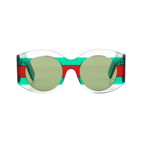 Gucci - Round Solid Green & Multicolour Sunglasses