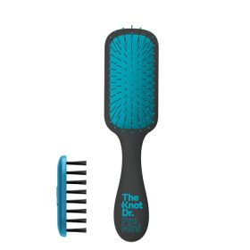 The Knot Dr Pro Mini Hair Brush With Kleen - Marine Blue