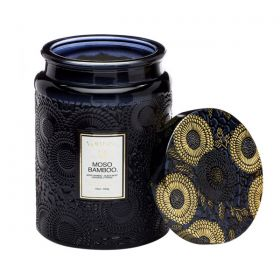 Voluspa Moso Bamboo Large Embossed Jar Glass Candle