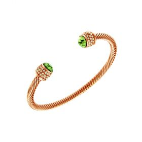 Fervor Montreal Bella Rose Gold Bangle - Peridot Crystal Color Stone