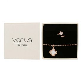 Venus - Rose Gold plated Stainless Steel Bracelet and Ring set