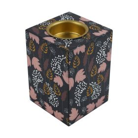 Stop Motion - Wooden Mabkhar with Flower Design - Dark Blue With Pink