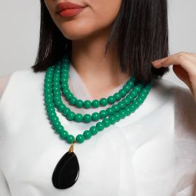 Haneen Boutique - 3 Layer Women Necklace - Green with Black