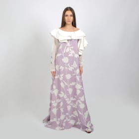 Murads Collection - Purple Kaftan with White Ruffles - Free Size