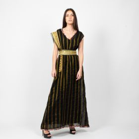 Eleven by Jenan - Black A cut Striped dress with a Belt and embellishment on one shoulder