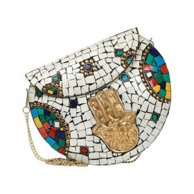 Kimy's Bags - Khamssa White - Silver / Multicolour Clutch bag