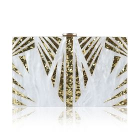 S Bottega - White Marble Clutch