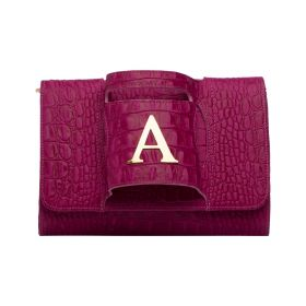 Sac Studio - Haidi  - Casual Pink Leather Clutch Bag with a Gold Plated Letter A