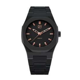 Essential Watch Black with Rose gold Index- Unisex