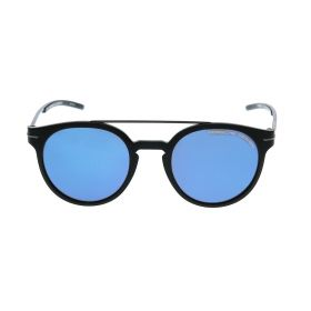 Round Dark Blue Mirror & Black Sunglasses