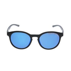 Round Dark Blue Mirror & Grey Sunglasses