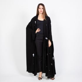 Al Faysaleya - Black with White Flowers Abaya