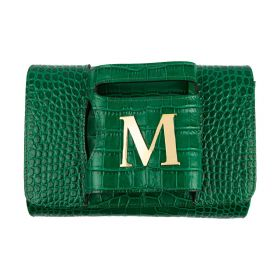 Haidi -  Casual Green Leather Clutch Bag -  with a Gold Plated Letter M