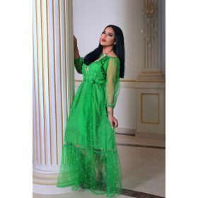 Roudha Style - Off Shoulder Green Cotton Daraa - Free Size