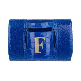 Haidi - Casual Blue Leather Clutch Bag - with a Gold Plated Letter F