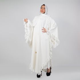 White Abaya with a Skirt and a Scarf - Medium