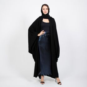 Black Abaya with a Skirt and a Scarf - Small