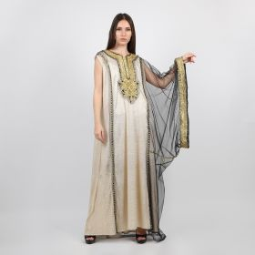 Eleven by Jenan - Gold Traditional Thoub with a modern twist, embroidered and beaded with a glove