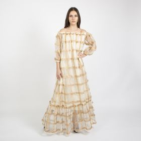 Roudha Style - Off Shoulder Beige Cotton Daraa