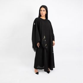 Chinese Cut Linen Abaya - Black