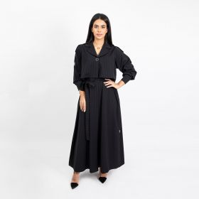 Trench Coat Cut Crepe Abaya - Black