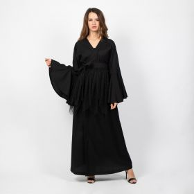 Open Dress with Toor Belt - Black