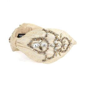 Namjosh - Elin Floral Jacquard Embellished Head Band - Cream/ Metallic