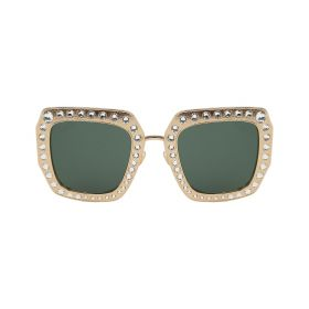 Gucci -  Rectangular Green & Gold Sunglasses